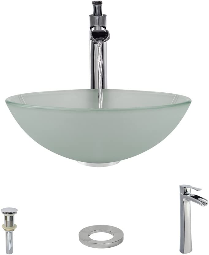 602 Chrome Bathroom 731 Vessel Faucet Ensemble Bundle – 4 Items Vessel Sink, Vessel Faucet, Pop-Up Drain, and Sink Ring