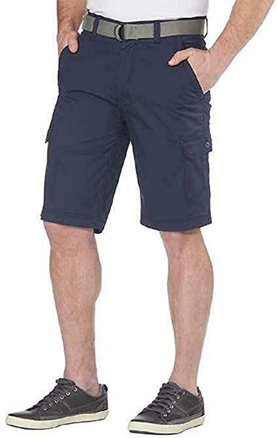 """Wear First Men/'s Performance 11/"""" Flex Belted Cargo Shorts Chinchilla Select Size"""