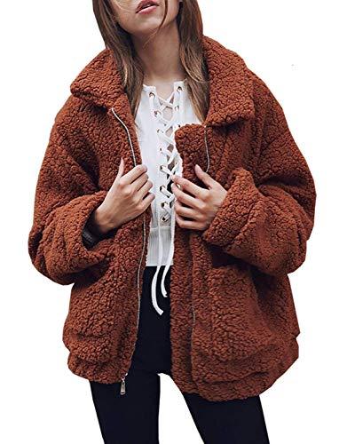 318c7760100 Chunoy Women s Faux Lambswool Fluffy Teddy Bear Coat Outwear Plus Size  Lapel Coat Coffee Large