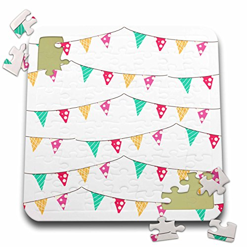 Anne Marie Baugh - Patterns - Cute and Colorful Party Banner Bunting Pattern - 10x10 Inch Puzzle (pzl_265043_2) by 3dRose