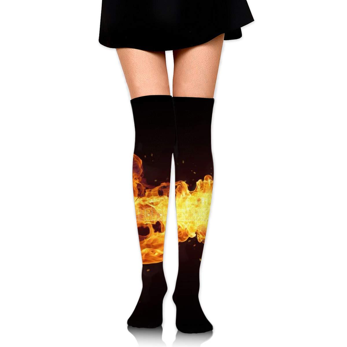 Kjaoi Girl Skirt Socks Uniform Fire Guitar Women Tube Socks Compression Socks