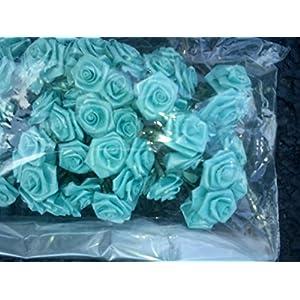 "Lewis And White, Inc. Roses, Ribbon Roses, 1"", Aqua, Pack of 72 9"
