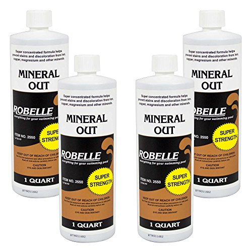 Iron Swimming Pool - Robelle 2550-04 Mineral Out Stain Remover for Swimming Pools, 1 Quart, 4 Pack
