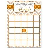 Bingo Games Chevron Little Pumpkin, White, Orange, Brown, Green, Polka Dots, Chevron Stripes, Pumpkin Baby Shower, Fall Baby, Autumn, 24 Printed Game Cards