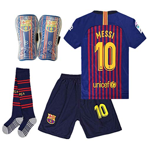Cyllr Barcelona Home Kids/Youth 2018-2019 Season #10 Messi Socce Jersey Matching Shorts,Socks.Shin Guards