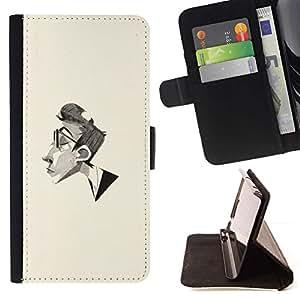 Momo Phone Case / Flip Funda de Cuero Case Cover - Hombre Retrato Lápiz Arte Gafas Perfil - Sony Xperia M4 Aqua