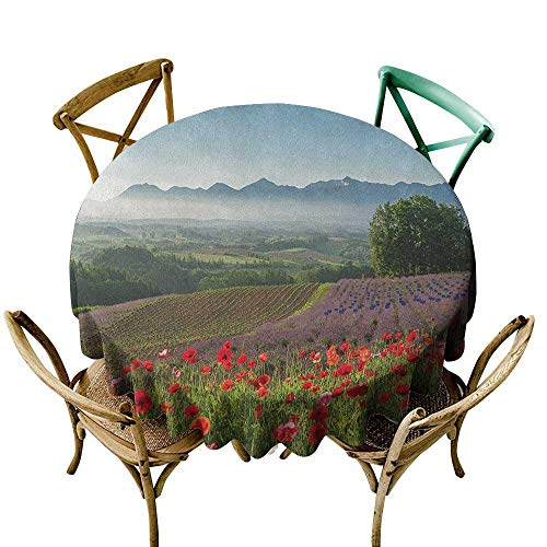 Wendell Joshua Round Outdoor Tablecloth 48 inch Flower,Poppy Flower Lavender Farm Foggy Morning Agriculture Outdoor Crops Red Purple Art, Multicolor Suitable for Indoor Outdoor Round Tables