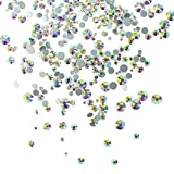1.5mm- 5mm 6size Nail Rhinestones 1396pcs AB Round Crystals Nail Art Flat Backs Rhinestones Flatback Artificial Gems Stone two packs for Nail Decoration, Crafts, Eye Makeup, body, Clothes, Shoes