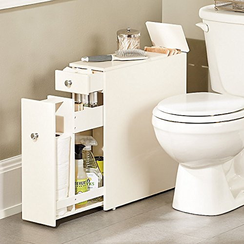 Slimline Organiser Bathroom Cupboard Cabinet Wooden Toilet Roll Storage Holder Ebay