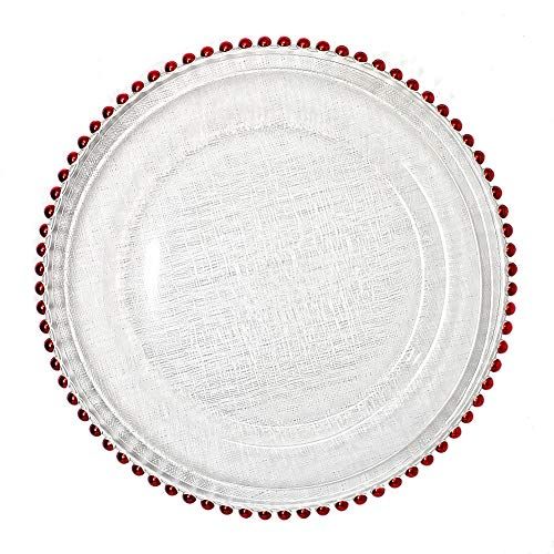 #1 Christmas Festive Red and Green Combo 13-Inch Beaded Rim Clear Glass Charger Plates Wedding Christmas Anniversary Modern Formal Service Dining Entertaining Home Kitchen Party Decor Holiday (8, red)