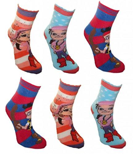Izzy, Jake and the Neverland Pirates Little Girl 6 pack Non Skid Slipper Socks 7-10
