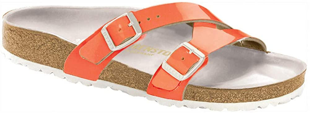 Birkenstock Women's Yao Leather Sandal Neon Orange Pat Birkoflor