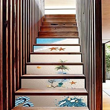 Vinilos Escaleras Escalones De Playa Autoadhesivos Pasos Porche Corredor Impermeable Escaleras Pegatinas Pegatinas De Pared: Amazon.es: Bricolaje y herramientas