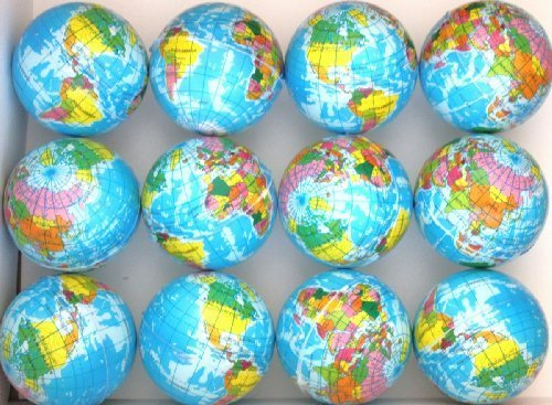 (12 Pack - Globe Planet Earth Soft Foam Stress 55mm Ball -)