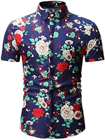LFNANYI Camisa Estampado de Flores Hombres Nuevo Verano de Manga Corta Camisa Hawaiana Hombres Slim Fit Casual Camisas de Vestir Masculinas: Amazon.es: Deportes y aire libre