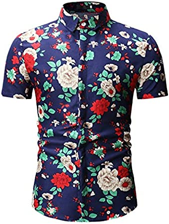 LFNANYI Camisa Estampado de Flores Hombres Nuevo Verano de ...