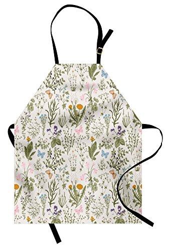 on, Vintage Garden Plants with Herbs Flowers Botanical Classic Design, Unisex Kitchen Bib Apron with Adjustable Neck for Cooking Baking Gardening, Beige Reseda Green Pink Blue ()