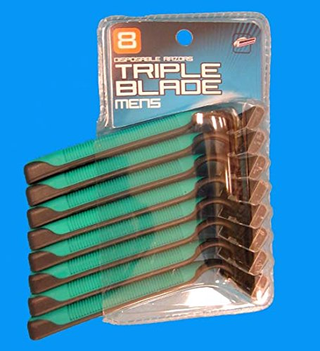 8pk Men Triple Blade Razors, Case of 48
