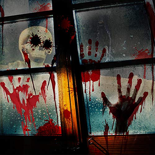 YING SHENG Zombie Walking Dead Party Window Clings Decoration Stickers, Bloody Handprints Footprints Self-Adhesive Waterproof for Horror Bathroom Haunted House, 88 PCS