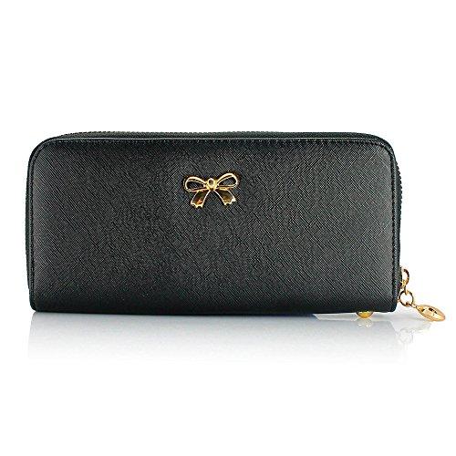 GEARONIC TM Women Wallet Long Clutch Faux Leather Card Holder Fashion Hand Purse Lady Woman Handbag Bag Black
