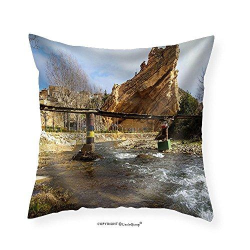 VROSELV Custom Cotton Linen Pillowcase Scenic Landscape at Autol Logrono Castilla Y Leon Spain - Fabric Home Decor 16''x16'' by VROSELV