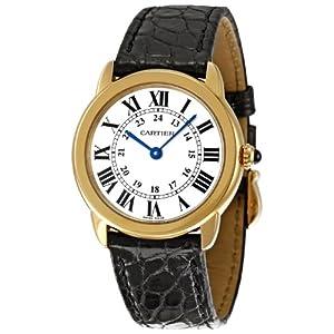 Cartier Ronde Solo - Reloj (Reloj de Pulsera, Femenino, Acero Inoxidable, Oro, Cuero, Negro) 4