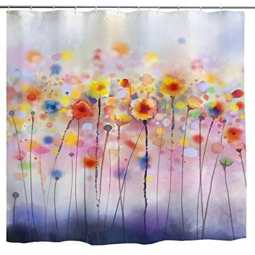 - Watercolor Flower Shower Curtain,Modern Purple Abstract Floral Colorful Spring Nature Art Print Bath Curtain, Nature Polyester Waterproof Fabric Bathroom Decor Set,72 inch Long,Yellow,Multi Color