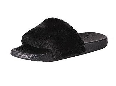 Lalang Femme Claquettes Plates Sandales Tongs Chaussures de Plage Mules  (36, Noir) 6e0496fd172c