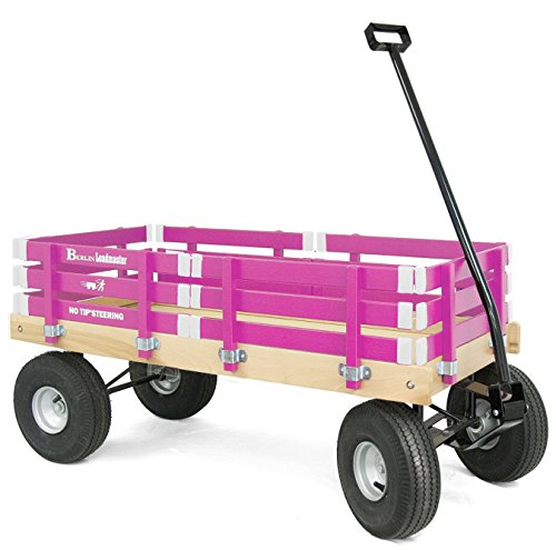 Berlin F600 Amish-Made All-Terrain Tires Loadmaster Ride-On Wagon, Hot Pink