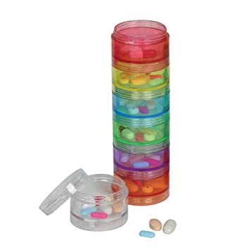 Awesome 7 Day Stackable Pill Case Reminder Organizer Multi Colored   Comes With 2  Lids And Gallery