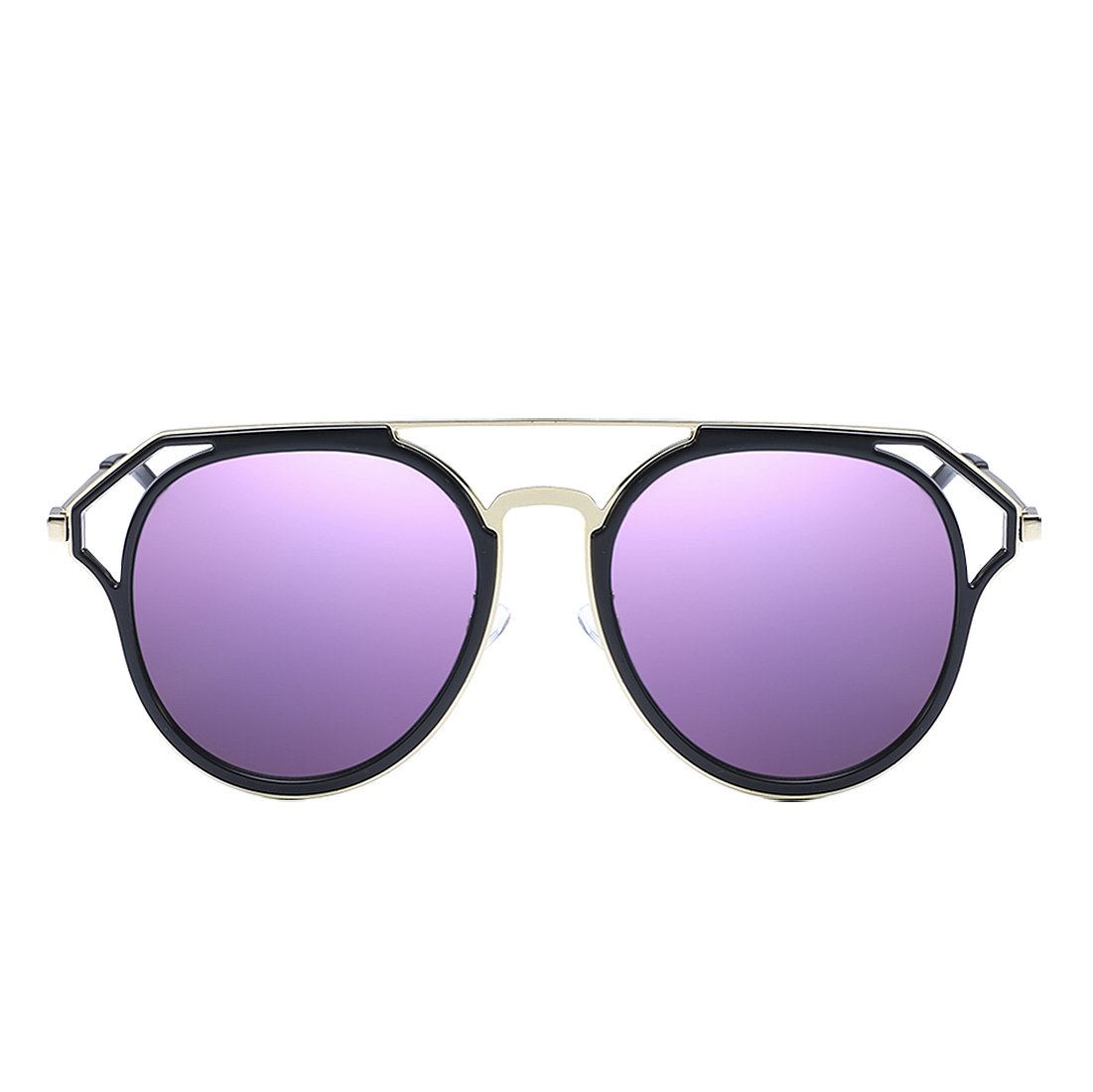 Zeraca Women's Fashion Cutout Cat Eye Polarized Sunglasses (Black Frame Purple Lens)