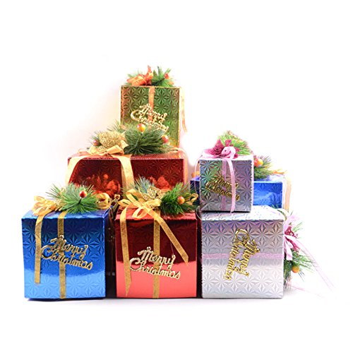 Maphissus Christmas Gift Boxes With Bow Small Pine Tree Party Favor Good Bag Paper Goody Bags Boxes (15cm)