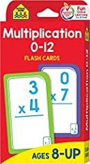 "Find our complete line of educational resources at Amazon.com/SchoolZonePublishing. CARD FEATURES 56 cards: 55 multiplication, 1 parent   For ages 8 and up   Large 3.0"" x 5.575"" cards with easy-to-sort rounded corners   110 multiplication pro..."