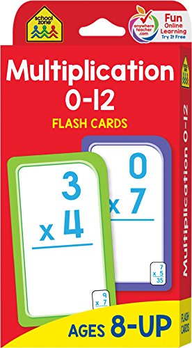School Zone - Multiplication 0-12 Flash Cards - Ages 8+, 3rd Grade, 4th Grade, Elementary Math, Multiplication Facts, Common Core, and More (Best Test Answers From Students)