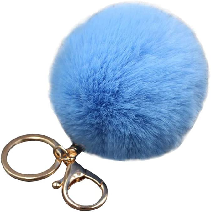 Shuda 1 Pcs Porte-cl/és Creative Mignon Hairball Porte Clef Porte Cl/é Pompon Porte Clef Peluche Sac D/école Sac /À Main D/écoration pour Femme 8cm Bleu