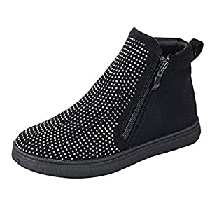 FAUN Top Quality Black Faux Suede Zipper Flat Classic Fancy Walking Dress Little Girl Kid Botines Casuales Ankle Bootie Hightop Sneaker Gym Shoe Boot Shoe for School Young Junior Girls (Size 4, Black)