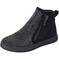 e82584b200e9 BDshoes Faun Studded Sparkle Glitter Double Zipper Flat Sneaker Ankle  Bootie Boots For Little Girls Black Taupe Assorted