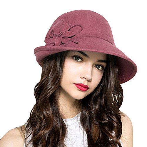 Pink Hat Fedora (Maitose Women's Wool Felt Flowers Church Bowler Hats Pink)