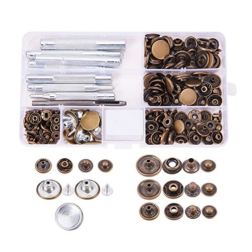 Pandahall Elite 50 Sets Buttons Jeans Button Snap Fastener Press Studs and 9 Pieces Leather Craft Tool with Storage Box