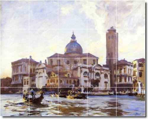 John Sargent City Ceramic Tile Mural 9. 48x60 Inches Using (20) 12x12 ceramic tiles.