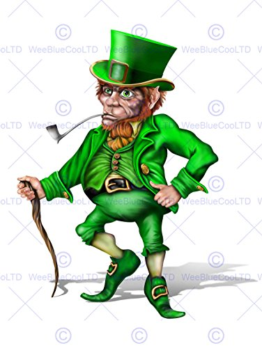 Painting Cgi Illustration Leprechaun Irish Mythology Green Poster Print