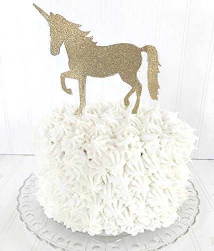 Unicorn Birthday Cake Topper, Once Upon a Unicorn, Gold Glitter Birthday Cake Topper by Piece of Cake (Unicorn Cake Pan)