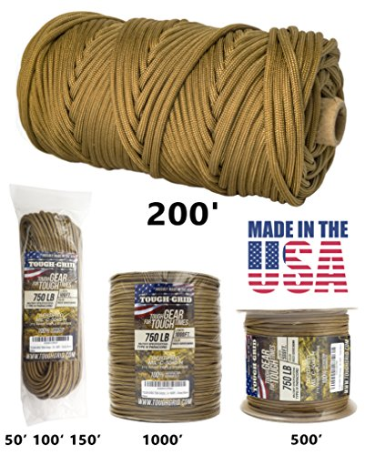 Military Parachute (TOUGH-GRID 750lb Grizzly (Coyote) Brown Paracord / Parachute Cord - Genuine Mil Spec Type IV 750lb Paracord Used by the US Military (MIl-C-5040-H) - 100% Nylon - Made In The USA. 200Ft - Grizzly Brown)