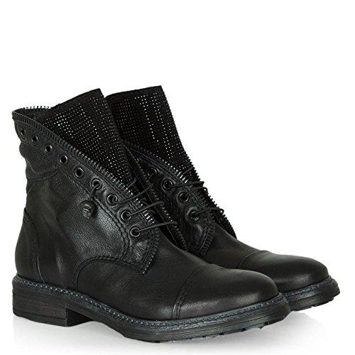 Biker Diamante Black Leather Boot Goodness Daniel Leather Detail Black XqwvxTUA