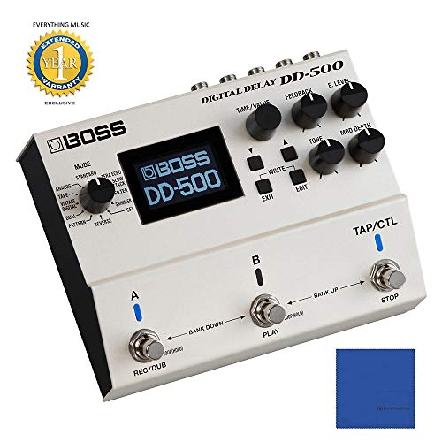 - Boss DD-500 Digital Delay Pedal with Microfiber and 1 Year Everything Music Extended Warranty