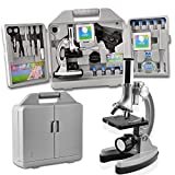 SOLOMARK Microscope for Kids and Beginners Includes 70pcs Accessory Set, 300X-600X-1200X Magnification with Metal Arm and Base Come with a Microscope Smartphone Mount