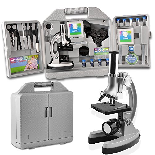 SOLOMARK Microscope for Kids and Beginners Includes 70pcs Accessory Set, 300X-600X-1200X Magnification with Metal Arm and Base Come with a Microscope Smartphone Mount -