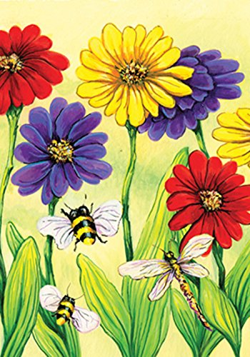 Toland Home Garden 117303 Zinnia Flight 12.5 x 18 Inch Decorative, Garden Flag-12.5