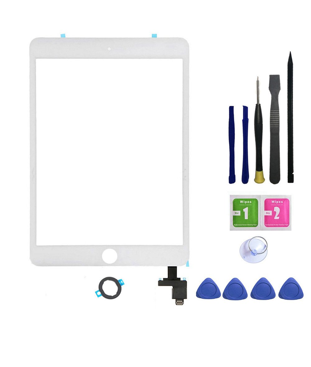 FeiyueTech Touch Screen Digitizer Replacement Black iPad Mini 3, Front Glass Touch Panel IC Chip Connector,Repair Tool Kit, Without Home Button. (White)