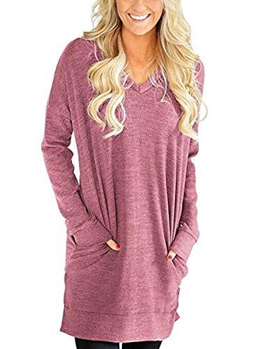 NICIAS Womens V-Neck Casual Long Sleeve Sweatshirt Loose Pockets Tunic Tops Blouse T-Shirt(Light Wine, Small)